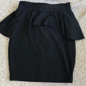bebe Peplum Black Spandex Skirt